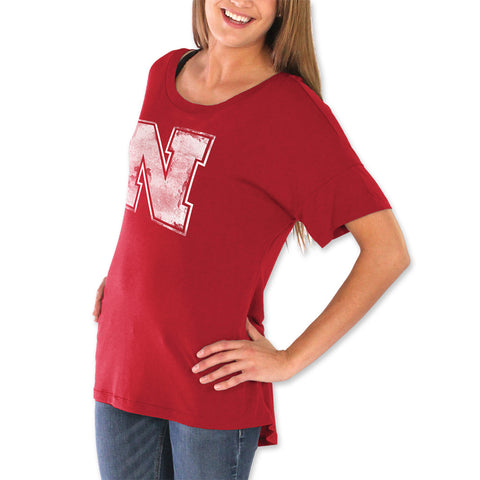 Womens Nebraska Scoop Back Top