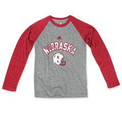 Retro Football Tri-Blend Raglan by Adidas - LS - Grey
