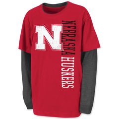 Youth Boys Nebraska Huskers Long Sleeve Layered Tee