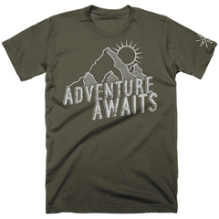 Men's Adventure Awaits Cotton Tee-Dark Green