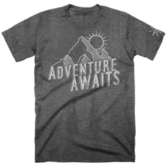 Men's Adventure Awaits Soft Cotton Tee-Grey