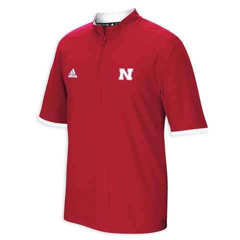 2015 Nebraska Sideline Climalite 1/4 Zip Polo by Adidas - SS - Red