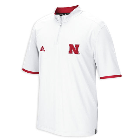 2015 Nebraska Football Coach's Short Sleeve 1/4 Zip by Adidas - SS - White