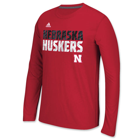Huskers Red Long Sleeve Performance Tee by Adidas