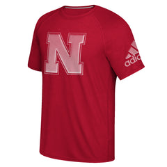 Nebraska Linear Depth Climalite Tee by Adidas - Red - SS