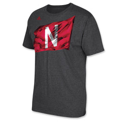 Huskers Stadium Flag Tee by Adidas - SS - Grey