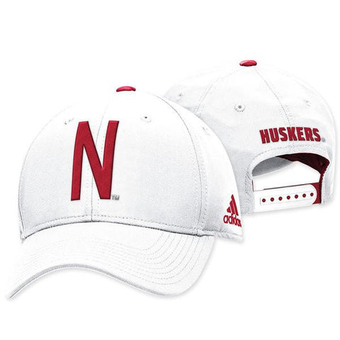 Nebraska Football Coaches Adjustable Slouch Hat by Adidas - White