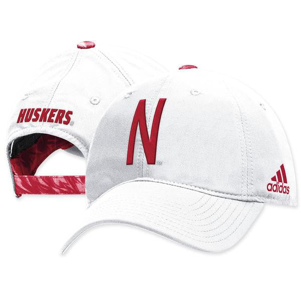 Nebraska Football Coaches Structured Adjustable Hat by Adidas - White ... 90972737d945