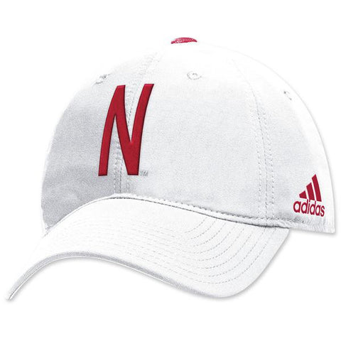 Nebraska Football Coaches Structured Adjustable Hat by Adidas - White