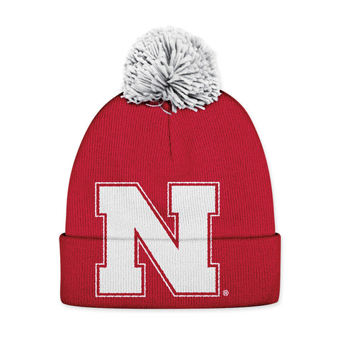 Large N Nebraska Huskers Cuffed Stocking HAt