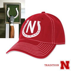 Huskers Tunnel Walk Horseshoe Hat by Adidas - Red