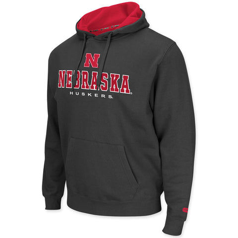 Nebraska Huskers Mens Fleece Charcoal Hoodie
