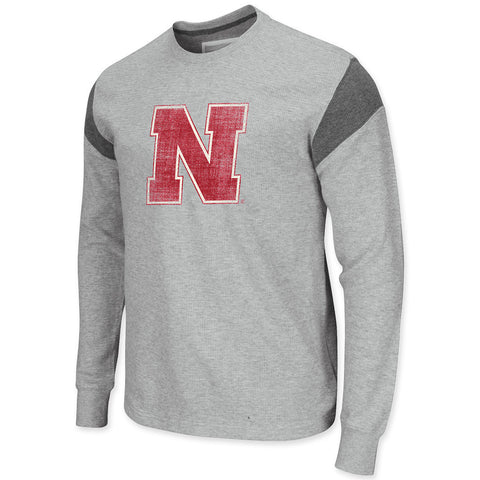 Mens Nebraska Waffle Knit Long Sleeve Tee