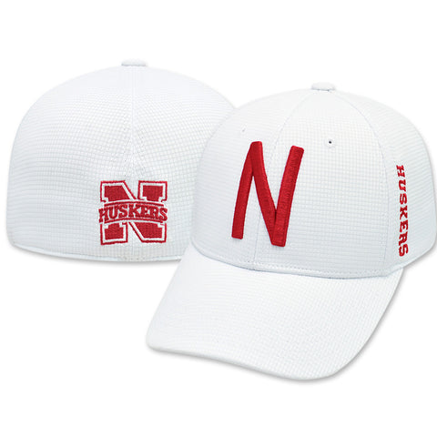 Nebraska Huskers White Booster Fitted Hat