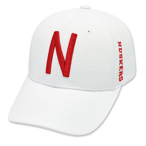 Flex Fit White Nebraska Huskers Textured Hat