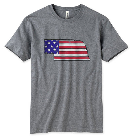 Nebraska USA Stars Stripes Tee