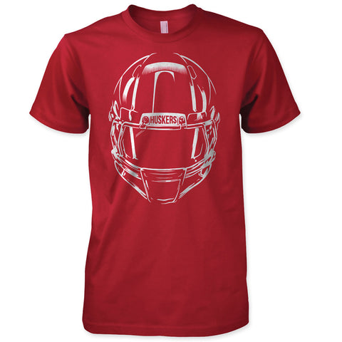 Nebraska Football Helmet Tee Red