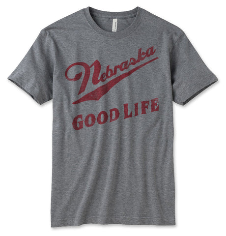Nebraska The Good Life Vintage Mens Tee