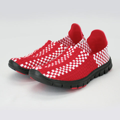 Memory Foam Woven Nebraska Shoes - Red