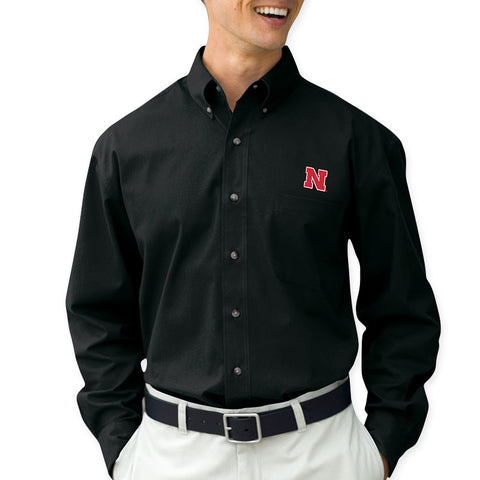Nebraska Huskers Black Dress Shirt