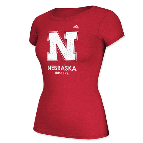Ladies Nebraska Huskers Rhinestone Tee by Adidas