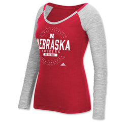 Womens Nebraska Huskers Bling Long Sleeve Tee by Adidas