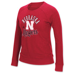 Womens Red Nebraska Huskers Crew Sweatshirt by Adidas