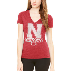 Nebraska Football In Style Tri-Blend Tee by Adidas - SS - Red