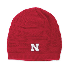 Ladies Nebraska Knit Red Stocking Hat