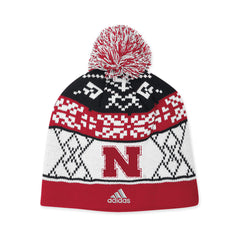 Womens Nebraska Pom Knit Stocking Hat
