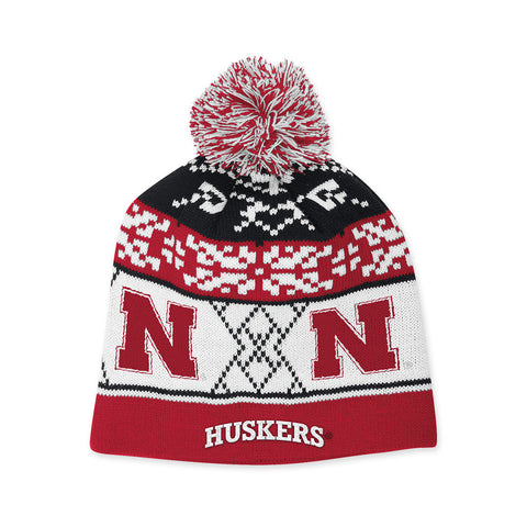 Nebraska Knit Patterned Stocking Cap by Adidas