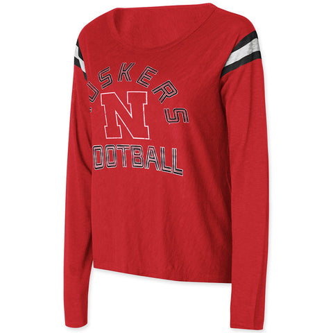 Women's Kick Off Huskers Tee - LS - Red