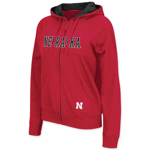 Womens Nebraska Huskers Red Zip Up Sweatshirt
