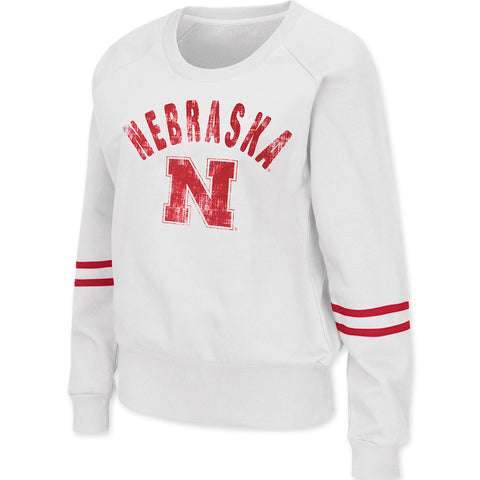 Nebraska Varsity Crew Neck Fleece - LS - White