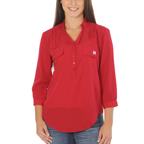 Ladies Nebraska Huskers Button Down Tunic