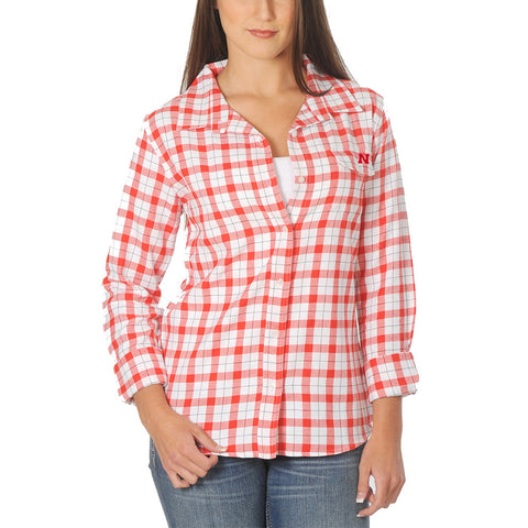 Nebraska Huskers Red White Plaid Button Up