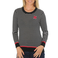 Womens Nebraska Huskers Striped Sweater