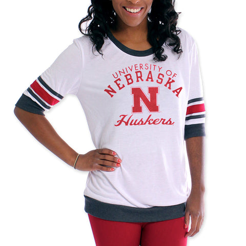Womens Nebraska Huskers Jersey Sleeve Top