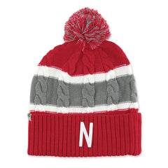 Womens Nebraska Huskers Cable Knit Winter Hat
