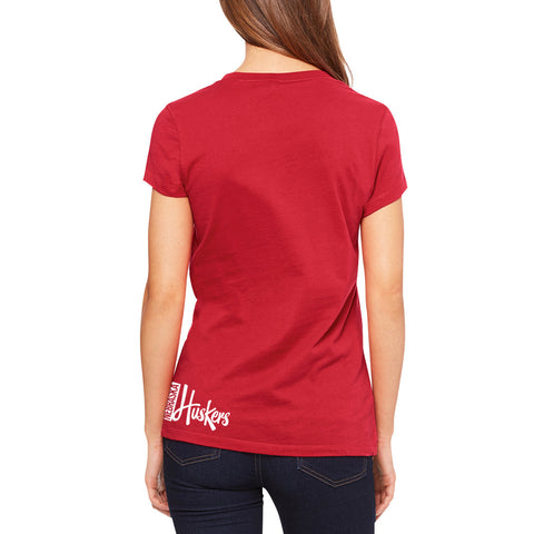 Womens Huskers Full Wrap V-Neck Tee