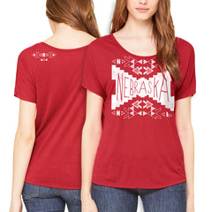 Nebraska-Aztec Scoop Neck Tee - Red - SS