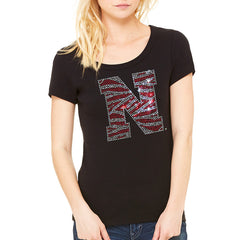 Zebra Bling Scoop Tee - SS - Black