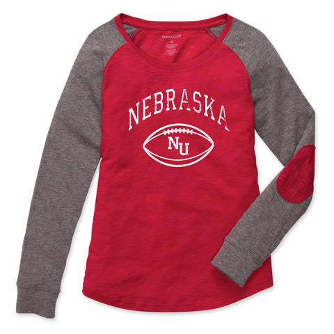 Nebraska Football Preppy Patch Tee - Red - LS