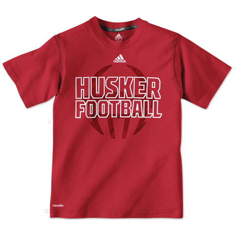 Huskers Football Adidas Youth Boys Tee