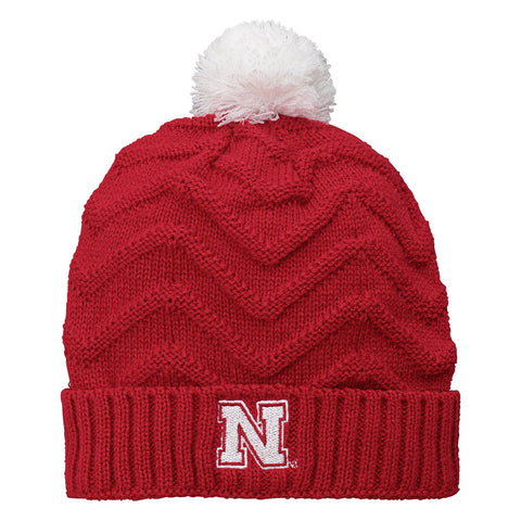 Nebraska Girls Kids Cuff Knit Pom Hat by Adidas