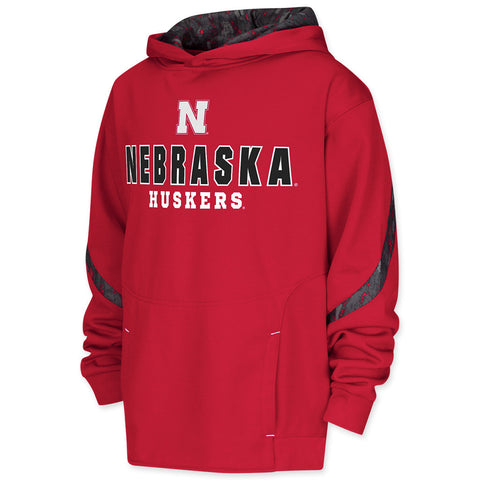 Huskers Slant Route Performance Hoodie - LS - Red