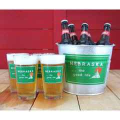 Welcome to Nebraska Pint Glass / Beer Bucket Set
