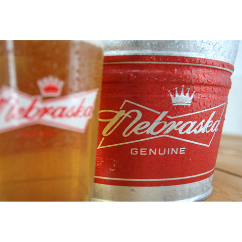 Nebraska Genuine Beer Bucket Pint Glass Se