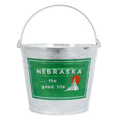 Nebraska Welcome to the Good Life Galvanized Bucket