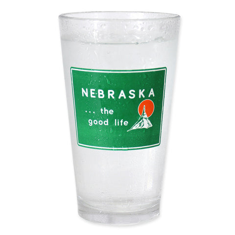 Welcome to Nebraska Sign Pint Glass